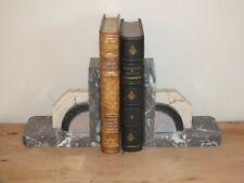 Paire de serre livre modernistes art déco en marbre et métal