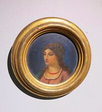 c.1850 miniature oil painting portrait beautiful young woman