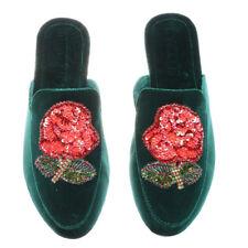 Mystique Women's Green Velvet Flower Mule Size 7