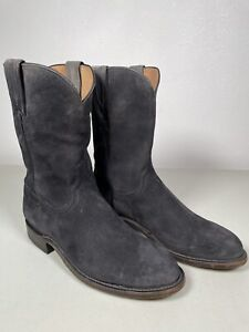 Men's Lucchese Roper Boots Lincoln Suede Handmade Steel Gray 8.5 N3563.C2