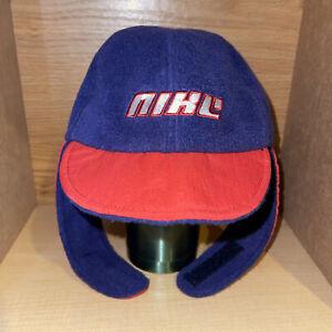 Vintage Toddler Winter Fleece Nike Ear Bomber Hat Cap 90s Swoosh Kids Blue Red