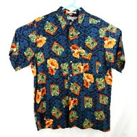 Imprints XL Mens Hawaiian Blue Floral Aloha Shirt