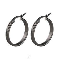 Women Men Stainless Steel Black Retro Pattern 3mm wide Round Hoop Earrings