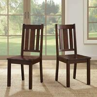 2 Pack Solid Wood Dining Chairs Kitchen Home Seat Furniture Set Rich Mocha Style