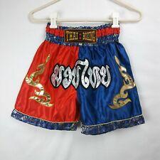 Muay Thai Boxing Shorts Fighting Red Blue Gold Silver Kids Boys Size Medium
