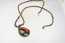 ZUNI stamped MARVELYNE L SILVER TURQUOISE & BRANCH CORAL PENDANT BEADED NECKLACE