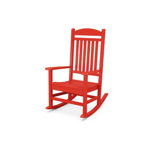 Polywood Rocking Patio Chair Grant Park Sunset Red Plastic Curved Seat Sloped
