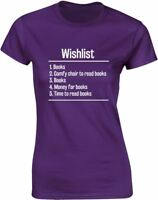 Brand88 - Books Wishlist Ladies Printed T-Shirt 100% Cotton Tee Shirt for Womens