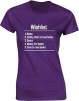 Brand88 - Books Wishlist Ladies Printed T-Shirt 100% Cotton Tee Shirt for Womens