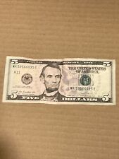 2013 $5 (MK 59566695 E) FIVE DOLLAR BILL/BANK NOTE~FANCY SERIAL NUMBER~SEE PHOTO