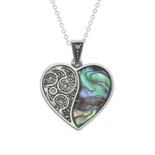 STUNNING PAUA SHELL 'TIDE' JEWELLERY ORNATE HALVED HEART PENDANT NECKLACE BOXED