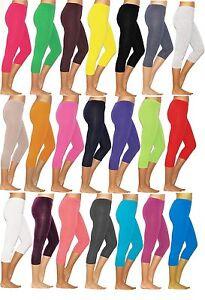 Damen 3/4 Capri Leggings Leggins blickdicht Baumwolle Hose Wäsche S M  L XL XXL
