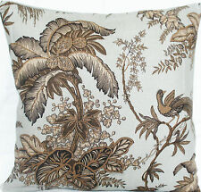 Palm Tree Cushion Cover Coconut Grove Schumacher Linen Fabric Duck Egg Toffee