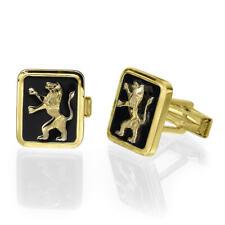 14k Yellow Gold Black Onyx Lion of Judah Men's Cufflinks, Father's Day Gift