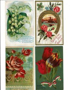 4 Card Greetings Lot, Birthday, Pretty Flowers, Lily of the Valley, Horseshoe!