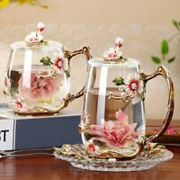 Flower Enamel Coffee Mug Cup Tea Glass Cups Beer mug Cup Set Spoon for Gift Set
