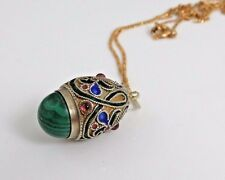 ANTIQUE CHINESE GILT STERLING ENAMEL JEWELED PENDANT NECKLACE.