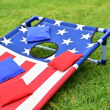 GoSports Stars and Stripes PVC Cornhole Boards Game Set with 8 Bean Bags & Case