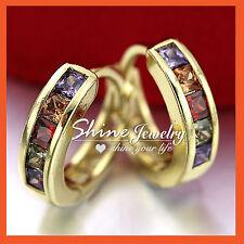 18K YELLOW GOLD GF amethyst ruby RAINBOW CRYSTAL LADY SOLID SMALL HOOP EARRINGS