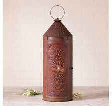 "Country Tinware Electric 22"" Chimney Lantern in Rustic Tin"