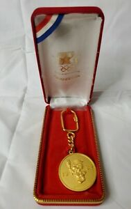 Vintage  Olympics 1984 Committee Solid Brass  Key Chain NOS