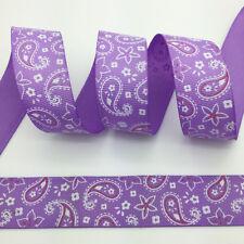 """Hot~5 yds 1"""" 25mm Printed Drop&Flowers Grosgrain Ribbon Hair Bow DIY Purple"""