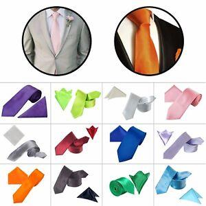 Mens Pocket Square Matching Necktie Set Handkerchief Wedding Dinner Hen Party