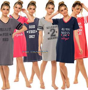 WOMENS ladies  nightshirts night shirt nightie slogan pyjamas pjs nightwear