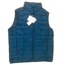 UNIQLO Men Ultra Light Down Vest 2017 Style Full Zip Blue Size XL Asia L US New