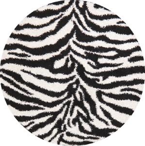 Animal Print Black White Oriental Area Rug New Turkish Shaggy 6x6 & 7x9