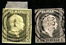 PRUSSIA (GERMANY) 1850-1856 USED SCOTT 3, 5 KING FREDERICK WILLIAM IV STAMPS
