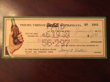 1939, Coca-Cola, Bottling Company Check (Bottle in Hand Logo)