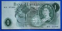"""1960 Bank of England One pound £1, O'Brien REPLACEMENT """"M13"""" banknote [21255]"""
