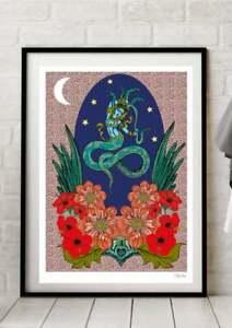 Naga Kanya Suvanamaccha Indian Snake Mermaid Goddess Yoga Colour Art Print A4 A3