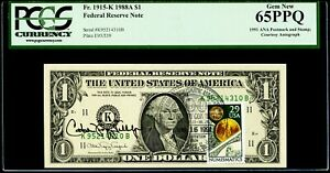 """$1 1988A Federal Reserve Note Dallas """"Courtesy Autograph & Stamp"""" PCGS GN 65 PPQ"""