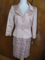Tahari Asl Women Dusty Rose Lace Buttoned Front Skirt Suit Size 8 NWT runs big