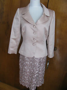 Tahari Asl Women Dusty Rose Lace Buttoned Front Skirt Suit runs big New