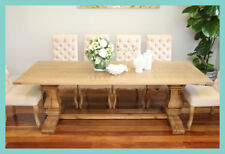 In Stock NEW French Provincial Hamptons Refectory Pedestal Oak Dining Table 2.4m