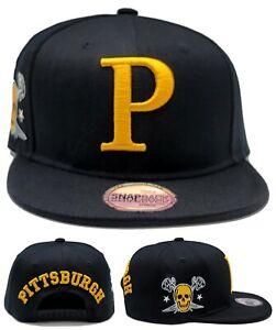 Pittsburgh New Leader City Jolly Roger Pirates Black Gold Era Snapback Hat Cap
