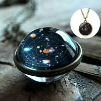 Luminous Glow in the Dark Galaxy Planet Pendant Necklace Double Sided Glass Dome