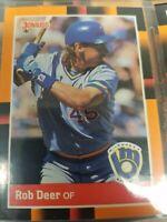 Rob Deer Milwaukee Brewers Minor/Major Stats Donruss 1988 Leaf Ungraded