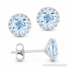 2.01 ct Round Cut Blue Topaz & Diamond 14k White Gold Martini Halo Stud Earrings