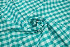 Scampolo di Tessuto in Puro Cotone Zephir a fantasia Quadri Bianco e Verde