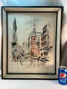 Vtg John Haymson NEW YORK CITY? Clock Tower Watercolor Print Shadowbox framed