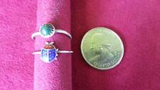 Beautiful Two Vintage Malachite Ladybug Ring 925 Sterling *Size 6.0, 7.0*G672