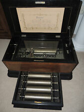 Antique 1800's Paillard Vaucher Fils Swiss 7805 5 Cylinder 30 Tune Music Box