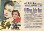 Programa de mano publicitario de CINE: EL MILAGRO DE LOS LOBOS.