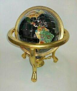 """World Globe Black Lapis Semi Precious inlaid Gemstones 8"""" in brass cradle"""