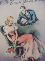 1938 Vtg Romantic LADY w Handsome Man RUST CRAFT EASTER GREETING Ribbon CARD