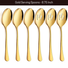 """6 Piece Gold Serving Spoons Set & Slotted Spoons 8 3/4"""" Buffet Dinner Catering"""